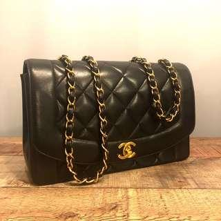 Authentic Chanel 10 Inch Diana Flap Bag w 24k Gold Hardware