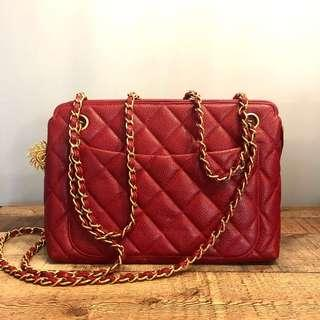RESERVED Authentic Chanel Red Caviar Bag w 24k Gold Hardware