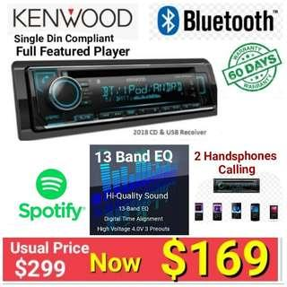 Kenwood Single din Bluetooth with 2 phones calling  ( connects up to 5 devices) + Spotify.  Model BT620U. UP : $299. special:  $ 169. ( Brand new in box and sealed )