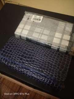 🚚 蛇皮紋 與藍白格雙層卡夾18個 夾層多有零錢拉鍊