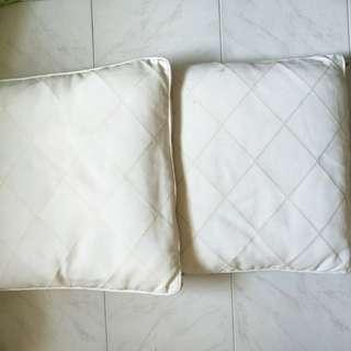 Pair of Large Cream Coloured Cushions with detachable covers