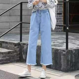 🚚 instock wide mom jeans wide legged denim culottes