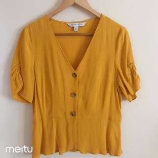 Forever new mustard button up blouse