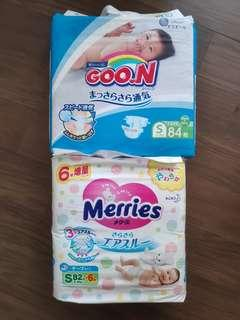🚚 Goon & Merries size S diapers (2 packs, 172 pcs)