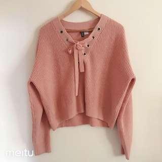 Blush tie up knit jumper