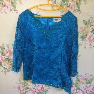 Blue Lace Brukat
