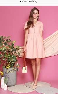 Ruched front button swing dress in pink