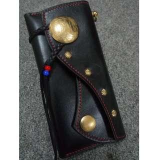 IHC black vegtan long leather wallet