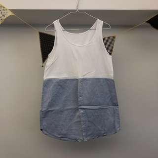 *SALE* White blue shirt top vest 白色藍色恤衫背心