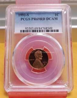 1992年(S)1美分,PCGS 69RD