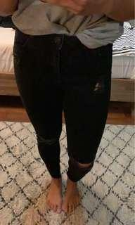 Topshop moto black distressed jeans size 32 (12) worn once
