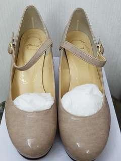 全新日本制粉紅色令面platform橫帶3寸高踭鞋