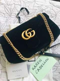 Gucci Small GG Marmont Metalassé Velvet Shoulder Bag