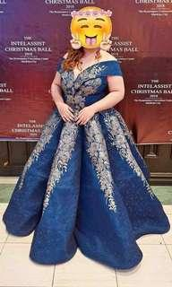 FOR RENT: DARK BLUE BALL GOWN FOR PLUS SIZE