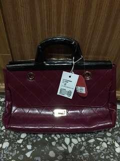 🚚 Semilla格菱紋鏈袋提包 紫紅(全新)
