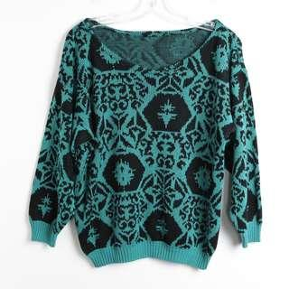 Vintage 80s 90s emerald black sweater turquoise S M