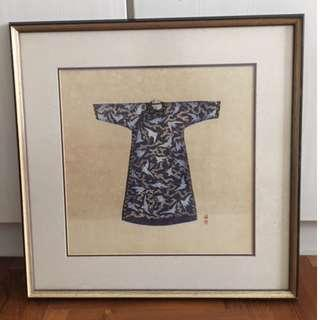 Hanging Framed Painting Decor Chines Robe Grey