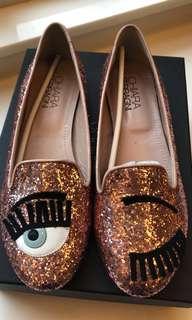 Chiara Ferragni pink shoes bling bling ( real ) 粉紅色平底鞋 Italy