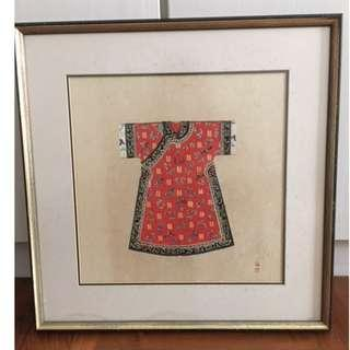 Hanging Framed Pictures Decor Chinese Robe Red