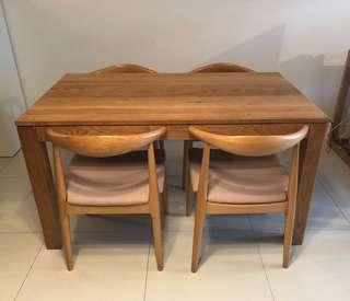 Solid white oak dining table and 4 chairs