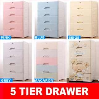 5 Layer with Lock Plastic Drawer/Storage/Cabinet/Ecological