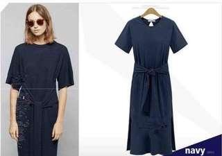 Front bowknot cotton dress with side slit