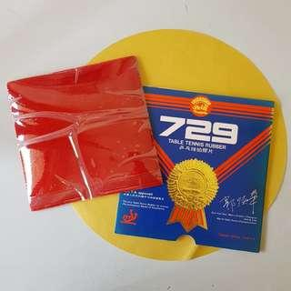 729 Table Tennis rubber with double sided tape 乒乓球拍膠片与双面胶贴片