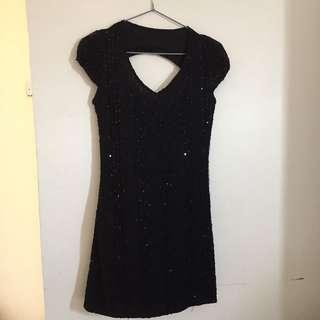Sequined vintage black dress