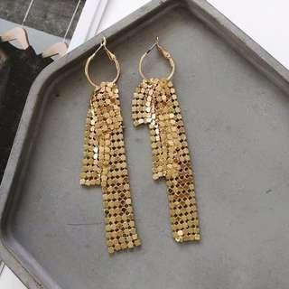 F21 gold long earring