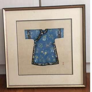 Hanging Framed Paintings Decor Chinese robe blue
