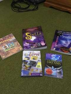 Assorted new age tarot and spell books