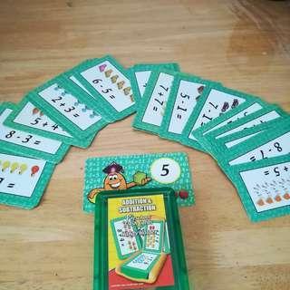 Addition & Subtraction Preschool Flash Cards + Handy Holder