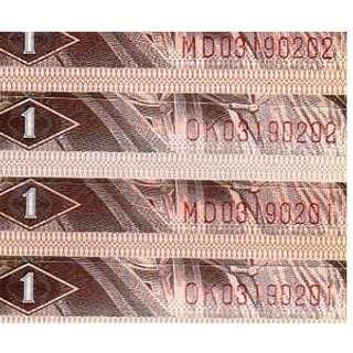 1980年第四版8位全同號2組03190201-02壹角1角人民幣全新直版UNC級