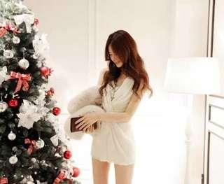 🚚 雪紡連衣裙韓版氣質白色禮服