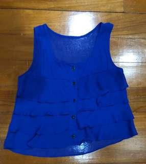 Women Sleeveless Ruffle blue top