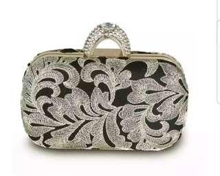 Formal Clutch Bag Embroided Lace Design