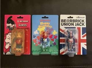 🚚 Peanuts Linus Happy Birthday Union Jack assorted 100% Bearbrick