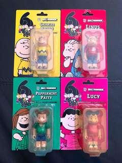 🚚 RARE 60 Years World Tour 2010 Peanuts Charlie Brown Linus Patty Lucy full 4pc Set 100% Bearbrick
