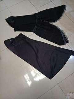 Jilbab rabbani hitam kelam dan jilbab motek cantik