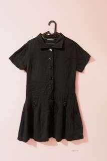 Kemeja panjang hitam lengan pendek / dress hitam