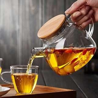 Transparent tea pot