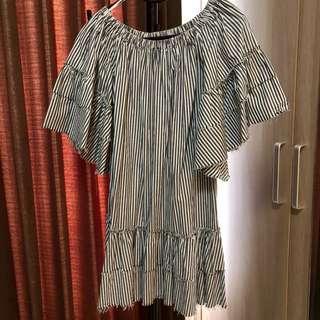 Sabrina Dress ZARA WOMAN hitam putih stripes