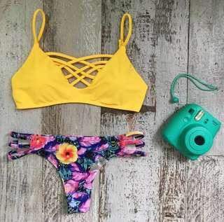 🚚 Po: yellow caged bikini set printed bottoms