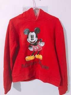 🚚 (二手)米奇圖案長袖紅色帽T上衣#半價衣服市集
