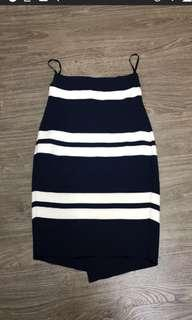 Thick Striped Midi Asymetrical Skirt