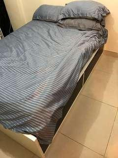 Ikea single Flaxa bed frame with mattress