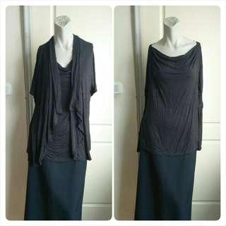 🚚 【onsale】lativ黑色嫘縈假兩件短袖上衣-L