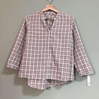 棉麻格紋襯衫