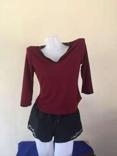 See through maroon top