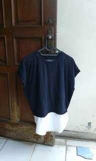 Dark blue&white top